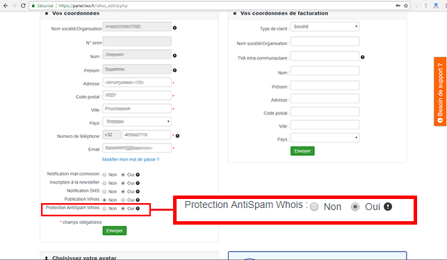 Gérer la protection anti-spam Whois